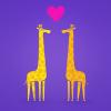 Free Wallpaper – Cute cartoon giraffes couple