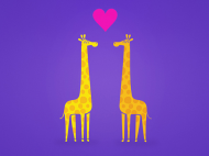 Free Wallpaper – Cute cartoon giraffes couple